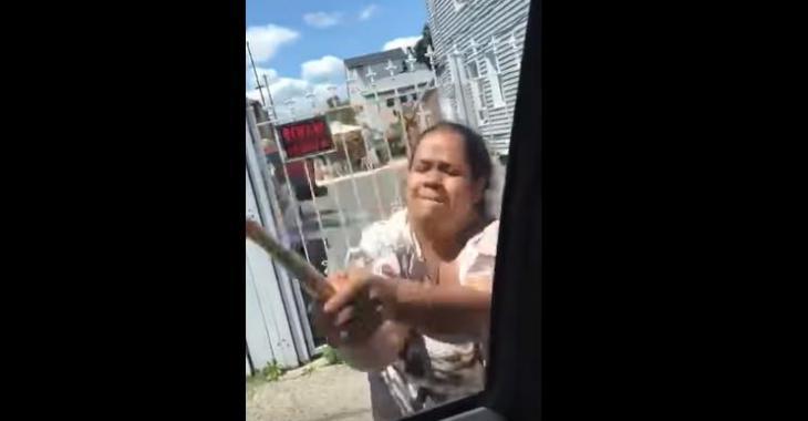 Une femme détruit la voiture de son ex