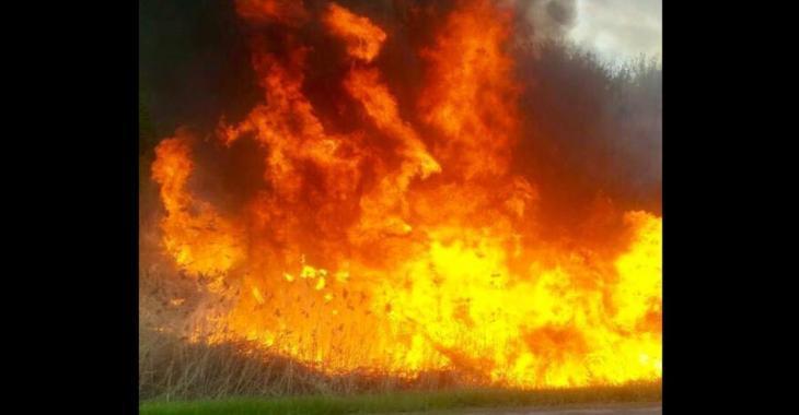 Spectaculaire incendie sur l'A-40