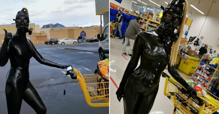 Une Québécoise fait son supermarché en latex de la tête aux pieds