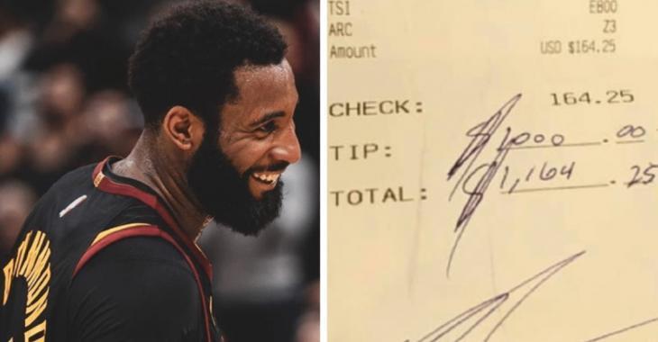 La star de la NBA Andre Drummond donne 1000$ de pourboire à une serveuse d'un restaurant