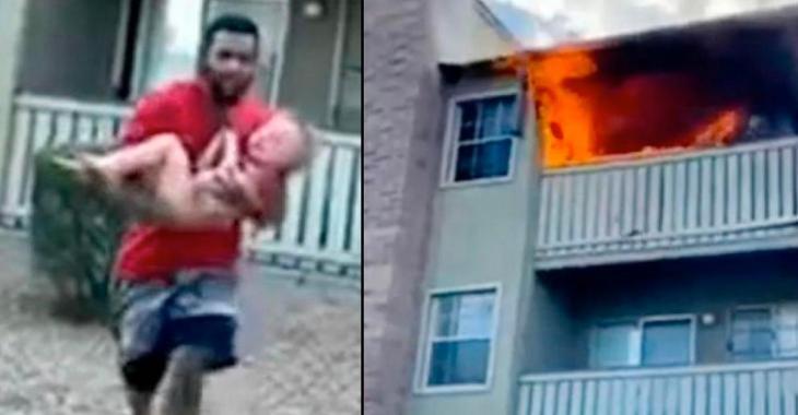 Une mère désespérée jette son fils de 3 ans d'un bâtiment en feu avant de mourir dans les flammes.