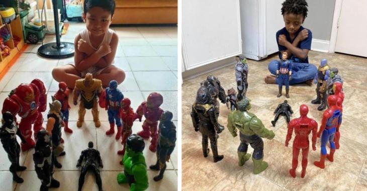 Des enfants rendent hommage à Chadwick Boseman avec leurs figurines Marvel